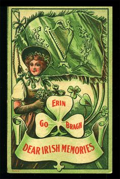 St Patrick's Day Greeting Card Postcard Antique by EvelynnsAlcove..