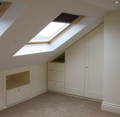 Built-in cupboards in loft room Loft Storage, Loft Conversion, Loft Furniture, Garage Loft, Bedroom Storage, Built In Cupboards, Loft Room, Loft Spaces, Loft Bathroom