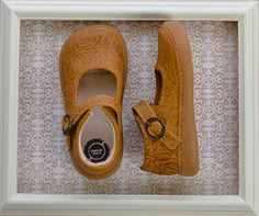 Livie and Luca Girls Embossed Leather Shoes in Yellow $58.00