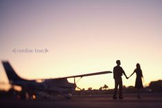 Airplane themed engagement photo shoot, by caroline tran