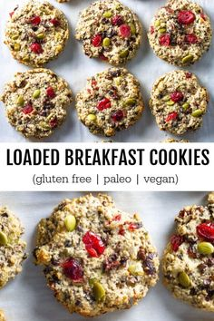 Quick and easy breakfast cookies loaded with all the things. Great for an on-the-go breakfast or snack. Quick and easy breakfast cookies loaded with all the things. Great for an on-the-go breakfast or snack. Breakfast And Brunch, Best Breakfast, Breakfast Recipes, Breakfast Healthy, Vegan On The Go Breakfast, Vegan Snacks On The Go, Cookies Sans Gluten, Paleo Cookies, Paleo Breakfast Cookies