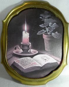 VERY OLD Vintage Home Interiors Candle and Bible Wall Art With Gilt Frame by newprairiestore Old Candles, Vintage Candles, Home Interior Candles, Bible Tattoos, Candle Tattoo, Full Sleeve Tattoo Design, Flash Design, Home Interiors And Gifts, Religious Tattoos