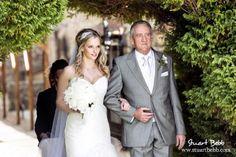 Bride and Father entrance to garden wedding at Notley Abbey