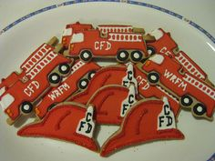 Fire Fighter Cookies Danielle Delectables #fooddecoration, #food, #cooking, https://facebook.com/apps/application.php?id=106186096099420