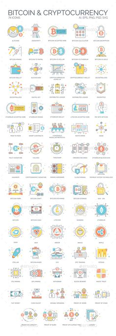 Bitcoin, Blockchain & Cryptocurrency Icons - Technology Icons
