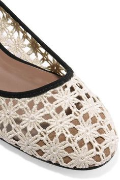 Tabitha Simmons - Daria Daisy Lace-up Suede-trimmed Crocheted Ballet Flats - Off-white - IT39