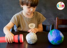Love this hands-on science demonstration teaching kids about the moon's phases!