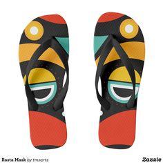1c29f2d0b116cf Rasta Mask Flip Flops - Durable Thong Style Hawaiian Beach Sandals By  Talented Fashion   Graphic