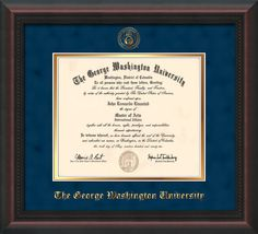 George Washington U Diploma Frame-Mahog Braid-Seal-Navy Suede on Gold – Professional Framing Company