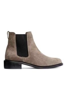 Chelsea boots in suede with elastic side panels, fabric lining, and leather insoles. Heel height 1 in. Botas Chelsea, Suede Chelsea Boots, Suede Booties, Ankle Booties, Heel Boots, Taupe, Beatle Boots, Suede Leather, Textiles