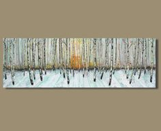abstract painting panorama painting of birch by SageMountainStudio