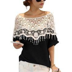 Très Chic Mailanda Moda Donna Cape colletto in pizzo T-shirt Camicetta euro 7,99