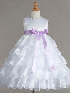 Satin bodice dress with layered skirt