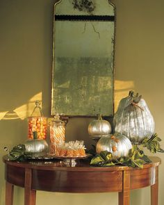 Green Silk Leaves | Martha Stewart Living - These green silk leaves are a wonderful addition to pumkin decorations.