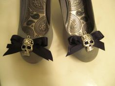 Black Bow Shoes Shoe Clip Rockabilly Lolita Psychobilly Day of Dead Skull Pinup