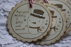 Handmade Stamped Snowman Gift Tags  by TatteredRosesPaperie, $4.99