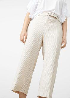 Cropped linen-blend trousers - Plus sizes 93fc709005e