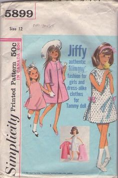 MOMSPatterns Vintage Sewing Patterns - Simplicity 5899 Vintage 60's Sewing Pattern DARLING Girls Jiffy Authentic Tammy Doll Dress & Coat, Matching Girl Fashions NO INSTRUCTIONS