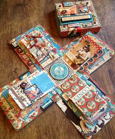 "Premade Mini Album Exploding Box ""on the boardwalk/coney island/vintage summer"""
