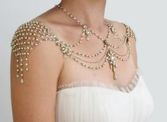 Necklace For The SHOULDERS, 1920s Style, Beaded Pearls And Rhinestone,Jazz Age