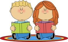 clip art of children | Reading Partners Clip Art Image - two school kids sitting on a rug and ...
