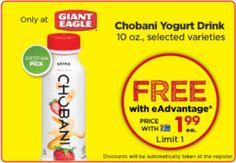 FREE Chobani Yogurt Drink and Simply 100 Crunch Yogurt at Giant Eagle on http://www.icravefreebies.com/