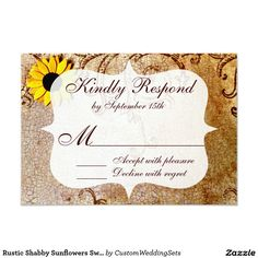 Rustic Shabby Sunflowers Swirls Wedding RSVP Cards