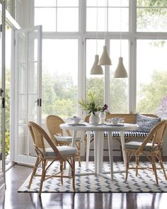 Natural dining chairs with cushion with white table - Serena & Lily Room Chairs, Table And Chairs, Side Chairs, Dining Chairs, Dining Table, Rattan Chairs, Nook Table, Lounge Chairs, Chair Cushions