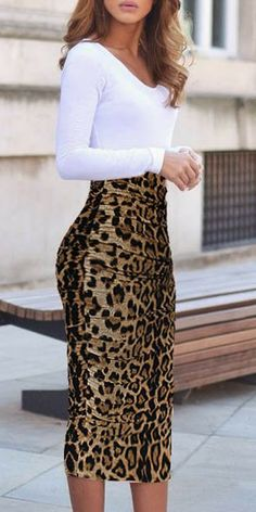 Women`s Elegant Ruched Frill Ruffle High Waist Pencil Mid-calf Skirt leopard print skirt outfit Mode Outfits, Office Outfits, Skirt Outfits, Office Wear, Office Attire, Work Attire, Sweater Outfits, Office Skirt Outfit, Office Chic