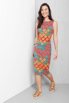 vestido decote triângulo estampado yumei | Dress to