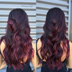 New Hair Color Ideas For Brunettes For Summer Ombre Extensions Ideas Plum Hair, Red Ombre Hair, Hair Color For Black Hair, Cool Hair Color, Purple Hair, Black Cherry Hair Color, Red Balayage Hair Burgundy, Boliage Hair, Wine Hair