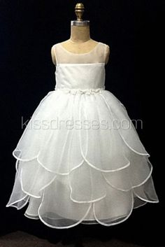 Tulip style skirt organza Flower Girl Dress with bow @Mariah Rinck