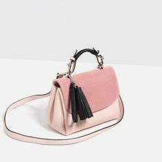 <Zara CONTRAST MATERIAL CITY BAG> Where: Zara Canada website; When: Jan 2016; Price: $49.90; Pro: light, cute and roomy; Con: the top pink suede flip is easy to get dirty