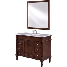Elegant Furniture Wagner 42 in. Single Bath Vanity w/ 6 Drawers 1 Shelf 2 Doors; 42 Inch Vanity, 42 Inch Bathroom Vanity, Bathroom Vanity Cabinets, Vanity Sink, White Bathroom, Office Bathroom, Unfinished Bathroom Vanities, Bathroom Vanities For Sale, Cheap Bathrooms