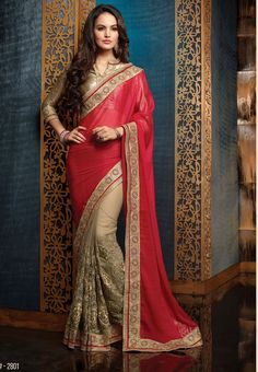 Maroon with Sandal Colored Half and Half Designed Emb Net with Georgette Saree