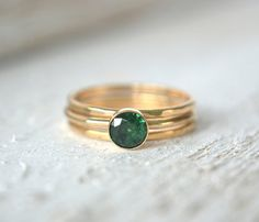 Emerald Gold Rings Set of THREE Stacking Rings 14k by MetalVine