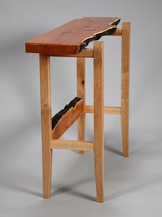 """""""All About Yew I"""" Hall Table: live-edge Pacific yew. Published in 'Something of Value: Whidbey Island Woodworkers', Western Art and Architecture, Aug/Sept 2013."""