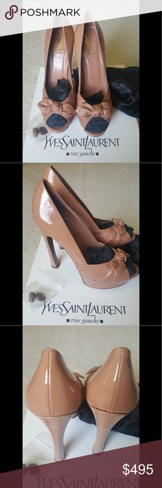 YSL leather bow Palais 105 Pump NWOB Beige combo patent leather Palais bow open toe 105 pumps size 39. Tried on and didn't fit, I waited to long to return them. They come with heel caps and dust bag, I threw away the box on accident so they will be sent in a Alaia box. No PayPal cheaper on Merc Yves Saint Laurent Shoes Heels