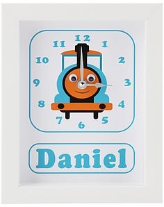 Stripey Cats Personalised Stevie Steam Train Framed Clock, 23 x 18cm