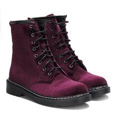 Burgundy Velvet Lace-up Design Short Boots