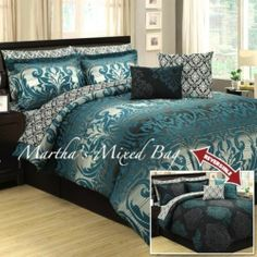 10pc QUEEN TEAL GRAY BLACK DAMASK TOILE ARABESQUE COMFORTER SHEET BEDDING SET