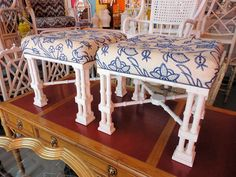 Pair of FAUX BAMBOO Regency Style Benches for under the Console:)