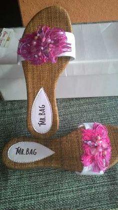 sandália rasteirinha em napa e fibra natural mr.bag pink