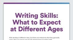 Writing Skills: What to Expect at Different Ages -   Learning to write involves more skills than knowing what makes a good story or using correct grammar and punctuation. Writing also requires physical skills to hold a pencil and make letters and the thinking skills to use language to express ideas. Find out what writing skills to expect at different ages.