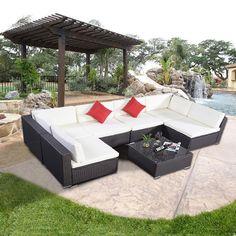 7PC Outdoor Garden Furniture Wicker Patio Rattan Sofa Set Sectional Dark Brown #Unbranded
