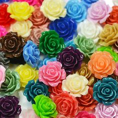 22mm Lucite Flower RESIN ROSE Cabochon Flatback Embellishment DIY Jewellery