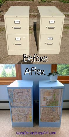 Funkify your file cabinet! Light blue spray paint and VT/NH maps transform these eye sores into cute sist Funkify your file cabinet! Light blue spray paint and VT/NH maps transform these eye sores into cute sister state storage.