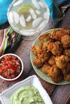 Avocado Fritters with Avocado-Cilantro Cream Dipping Sauce