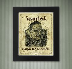 Shadow of Mordor Wanted Poster 8x10