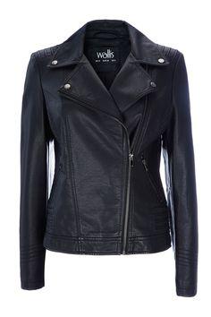 Black Asymetrical Biker - Coats - Clothing - Wallis